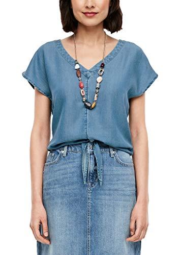 s.Oliver Damen Light Denim-Bluse mit Knoten Light Blue 36