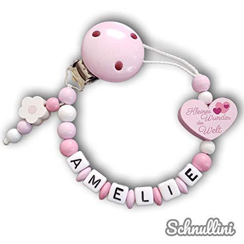 Schnullerkette mit Namen Herz Kleines Wunder der Welt Gravur Geschenk Taufe Geburt individuell Stern   Mädchen rosa Namenskette