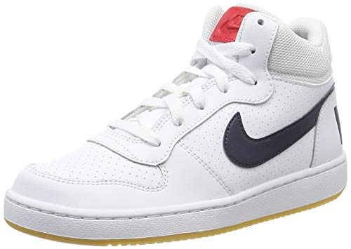 Nike Jungen Court Borough MID (GS) Basketballschuhe, Weiß (White/Obsidian/Univ Red/Gum Lt Brown 107), 40 EU