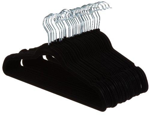 AmazonBasics Kleiderbügel für Anzug / Kostüm, mit Samt überzogen, 30er-Pack, Schwarz