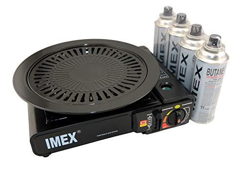 IMEX Camping Gaskocher Set Butan-Kocher im Tragekoffer mit 4 Gaskartuschen + Imex Grillaufsatz Grillplatte