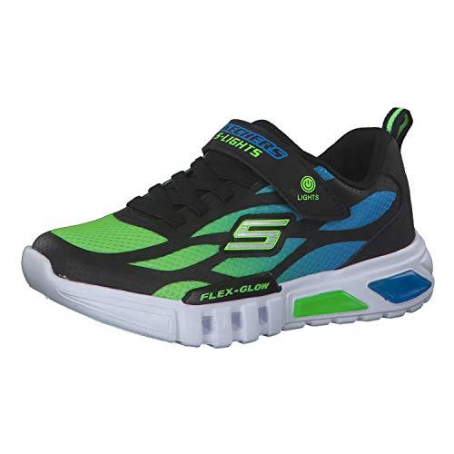 Skechers Jungen DELSON-ANTIGO-400016L Sneaker, Schwarz (Black Synthetic/Textile/Blue & Lime Trim Bblm), 34 EU
