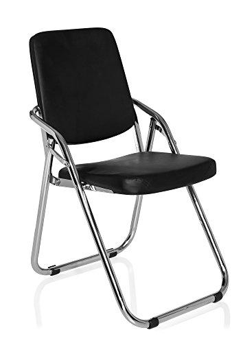 hjh OFFICE 706300 Konferenzstuhl Freischwinger ESTO Kunstleder schwarz, ergonomisch und vielseitig einsetzbar, wertige Verarbeitung, Feste Armlehnen, Besucherstuhl, Bürostuhl, Küchenstuhl, Bürostühle