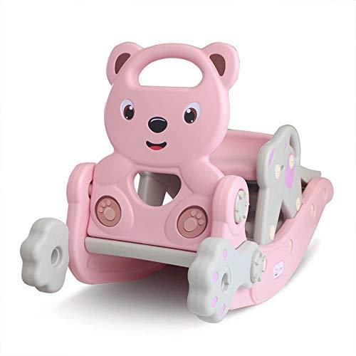 ZYMSD 3 in 1-Kind-Baby-Schaukelpferd Klettern Rutsche Spielzeug Multi-Funktions-Schaukelstuhl Schaukel Stuhl mit Basketballkorb wippen Spielzeug für Kinder,Rosa
