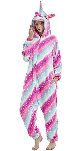 Re-Miss  Erwachsene und Kinder Unisex Einhorn Tiger Lion Fox Onesie Tier Schlafanzug Cosplay Pyjamas Halloween Karneval Kostüm Loungewear , Unicorn Star-sky ,  L passt Höhe 165-175cm