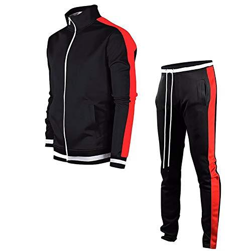 LeerKing Trainingsanzug Polyesteranzug für Herren und Jungen Jogginganzug Jogginghose und Reißverschlussjacke Schwarz+Rot S