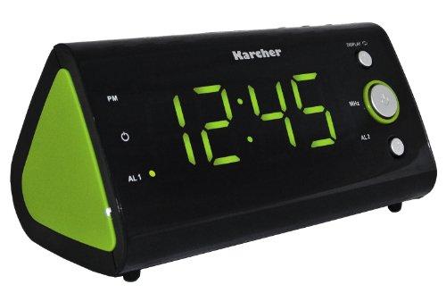 Karcher UR 1040-G Uhrenradio (PLL-Radio, Temperaturanzeige, Dual-Alarm) schwarz/grün