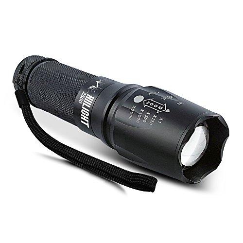 HIILIGHT LED Taschenlampe 2500 mit Zoom für Indoor und Outdoor - Extrem Hell