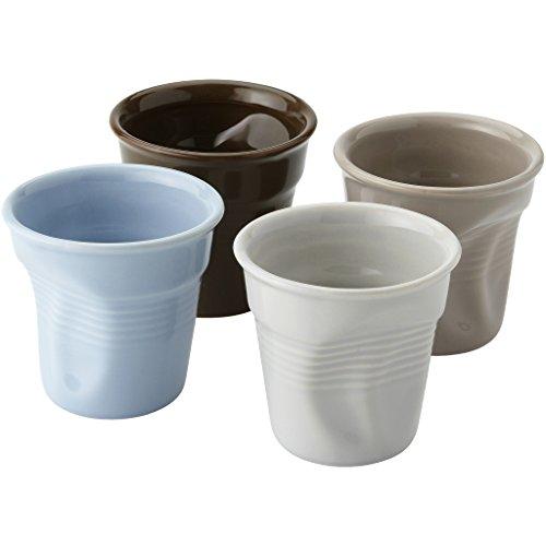 4 farbige Espressotassen aus Keramik im Knitter Design Einwegbecher-Stil Getränkeautomaten in Geschenkbox