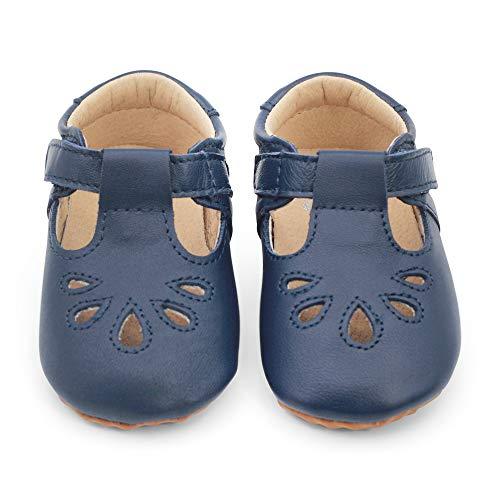 Dotty Fish Klassische T-bar Schuhe. Kinderschuhe aus hochwertigem Leder. Mit Gummisohle für extra viel Halt. Marineblau. (EU 22.5)