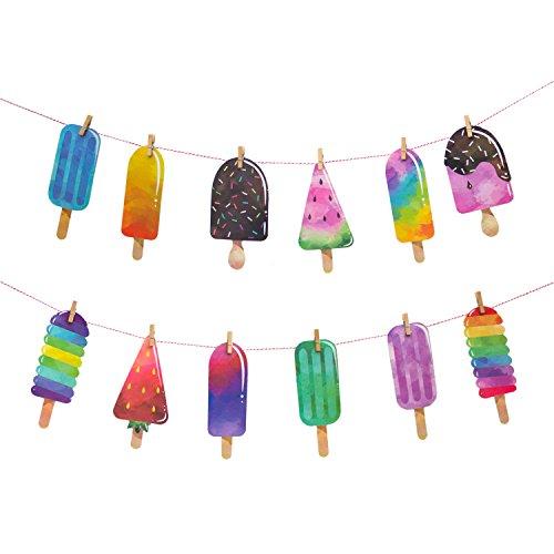 Oblique-Unique® Girlande Eiscreme EIS am Stiel Sonne Sommer Spaß Party Deko