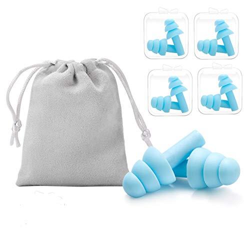 LAOYE Ohrstöpsel zum Schlafen 4 Paare Gehörschutzstöpsel - NRR 34 Ohrenstöpsel für Schwimmen & Flugzeuge mit Reisetasche - Wiederverwendbare Gehörschutz Ohrstöpsel aus Silikon, wasserdicht, weich