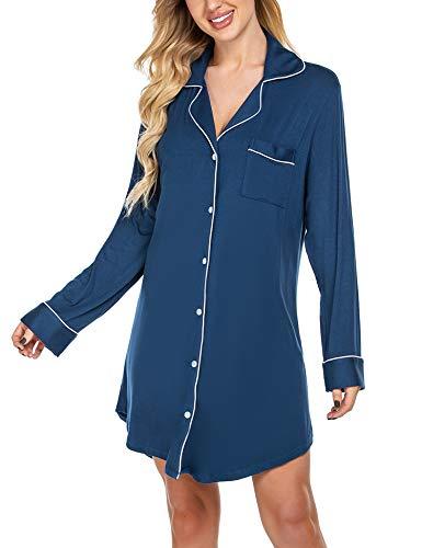 Avidlove Nachthemd Damen Nachtwäsche Baumwolle Sleepshirt Langarm Sexy Schlafshirt Nachtkleid, S, Langarm 1: Navy