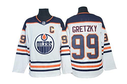 Gretzky # 99 Hockey Trikot Edmonton Oilers Hockey Genähte Buchstaben Zahlen NHL Eishockey Trikot,White,XXL