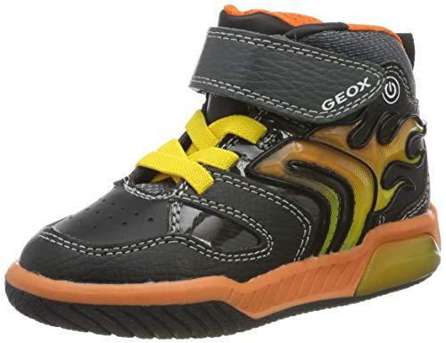 Geox J INEK Boy C Sneaker, Schwarz (Black/Orange), 27 EU