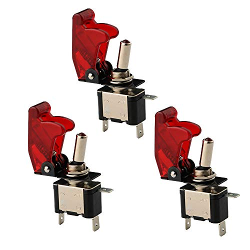 CESFONJER LED Anzeige Wippschalter, KFZ Rote Kippschalter Schalter, 12V 20A Auto KFZ Schalter SPST Wippschalter Ein/Ausschalter Rot (3 Pcs)