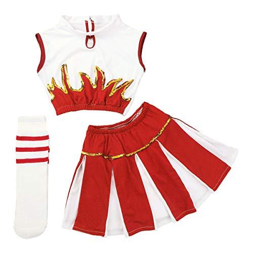 FEESHOW 3-teilig Mädchen Cheerleading Kostüm Kleid Uniform Bekleidung Kinder Tanzanzug mit Socken Outfit Weiß+Rot 140-152/10-12Jahre