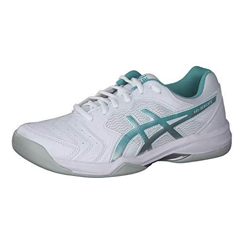 ASICS Damen Tennisschuhe Gel-Dedicate 6 Indoor 1042A074 White/Techno Cyan 36