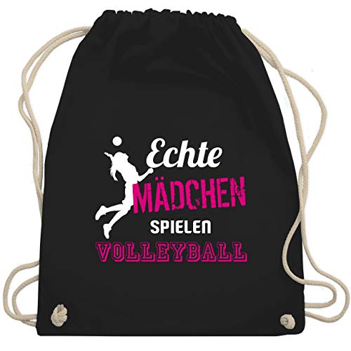 Shirtracer Volleyball - Echte Mädchen spielen Volleyball - Unisize - Schwarz - volleyball - WM110 - Turnbeutel und Stoffbeutel aus Baumwolle