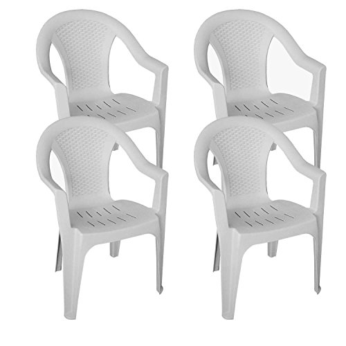 Multistore 2002 4er Set Stapelstühle Gartenstühle Gartensessel stapelbar in Rattan-Optik Kunststoff - Weiß