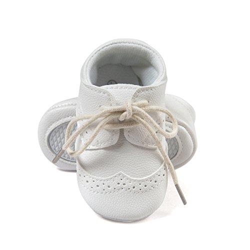 ESTAMICO Baby Jungen PU Schnürsenkel Lauflernschuhe Weiß 6-12 Monate