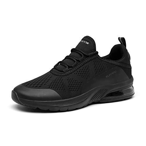 FOGOIN Laufschuhe Herren Damen Sportschuhe Sneaker Atmungsaktiv Leichtgewichts Turnschuhe Straßenlaufschuhe Trainer, 42 EU, Schwarz