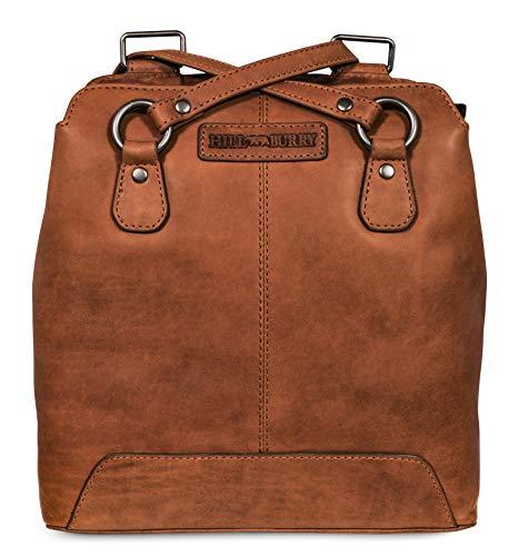 Hill Burry Damen Schulterbeutel | aus weichem hochwertigem Rindsleder - Vintage Bag Beutel | Umhängetaschen - Abendtasche | Handtasche - Schultertasche (Braun)