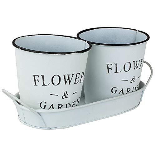 MACOSA NO55768 Pflanzgefäße 3tlg. Kräutertopf Zink Weiß Vintage-Stil Blumentopf Pflanztablett Kräutergarten Sukkulententopf Kräuterkasten Blumenkasten