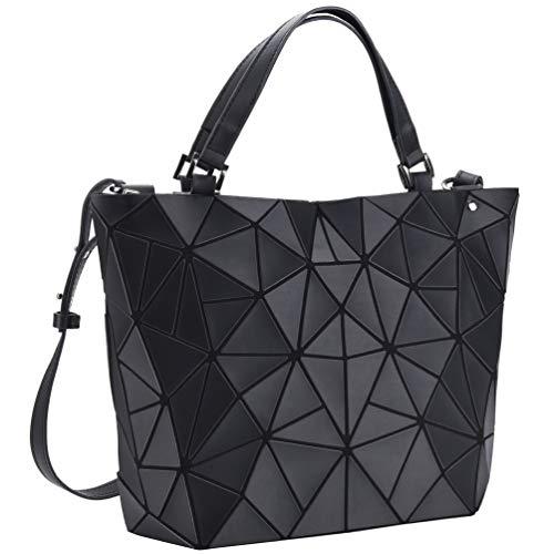 VBIGER Handtaschen Damen Geometrische Tasche Matte schwarz Damentasche Schultertaschen Umhängetaschen für Frauen (Matte Schwarz)