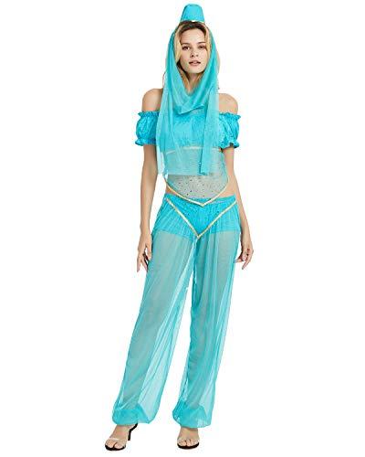 Quesera Damen Prinzessin Jasmin Kostüm-Set Aladdin Arabian Haremshose Outfit -  Blau -  Medium