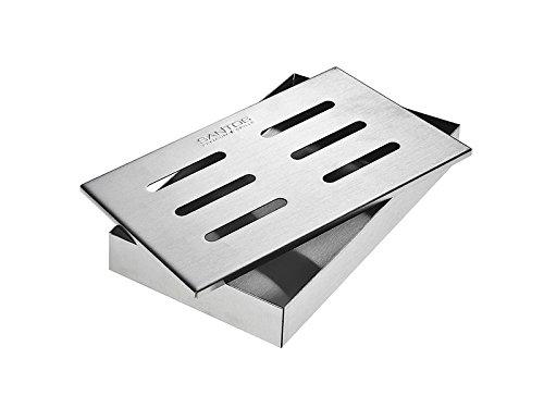 Santos Smokerbox Räucherbox Edelstahl Grillzubehör für Gasgrill, Kohlegrill und Kugelgrill | Maße 21x13x3,4 cm