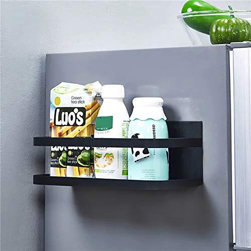 Kühlschrank Regal Hängeregal für Kühlschrank Magnet Gewürzregal mit Ablage Küchenregal Küchen Organizer Aufbewahrung, Schwarz