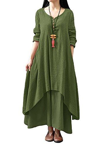 Romacci Damen Beiläufige Lose Kleid Fest Langarm Boho Lang Maxi Kleid S-5XL Schwarz/Weiß/Rot/Gelb, Grünes, L