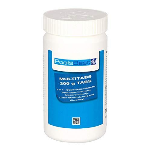 POOLSBEST® 1 kg Chlor Multitabs 5 in 1 200 g Chlortabletten für Pool - Chlor wirkt schnell gegen Bakterien, Pilze und Viren im Pool