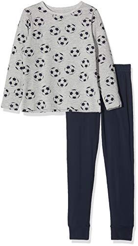 NAME IT Jungen NKMNIGHTSET Mel Football NOOS Zweiteiliger Schlafanzug, Mehrfarbig(Grey MelangeGrey Melange), 110 (Herstellergröße: 110-116)