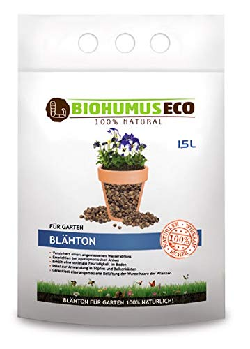 BIOHUMUSECO BLÄHTON natürlich ohne Chemie, Garten, 100% Natural, 1,5 l, Weiß