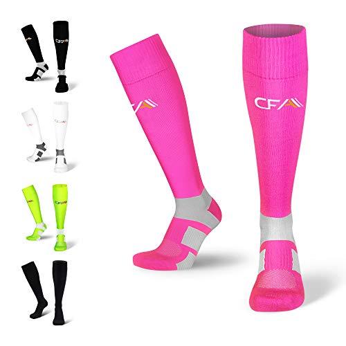 Hochwertige Kompressionsstrümpfe für Damen und Herren, Sprunggelenkschutz und Mittelfußstütze, flache Spitzennähte, für Laufen, Sport, Erholung, Blutzirkulation, Flug, Made in EU (Pink, XL)