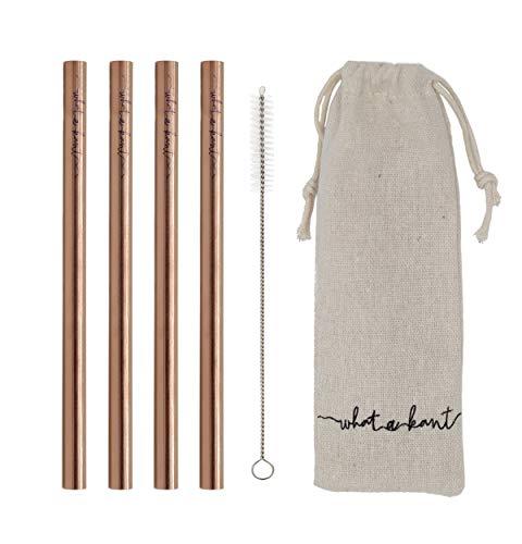 Whatakant Wellenreiter Kupferstrohhalme - 4er Set nachhaltige Strohhalme im Baumwollsäckchen mit Reinigungsbürste - wiederwendbar und to go Trinkhalme