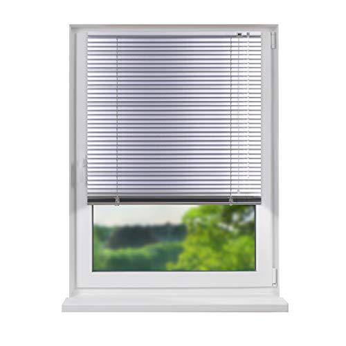 Fensterdecor Aluminium Jalousie, hochwertige Klemmfix Alu-Jalousie in Silber mit Zugschnur und Drehstab, Jalousette mit Lamellen für den Innen-Bereich, schnelle und einfache Montage, 80 x 150 cm