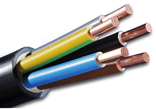 Erdkabel NYY-J 5x4 mm² (mm2) Meterware auf den Meter genau: Starkstromkabel - PVC Erdleitung schwarz - Auswahl in 1 Meter Schritten - Beispiel: 20 m - 25 m - 35 m - 50 m usw.