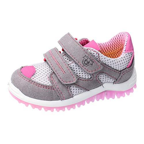 RICOSTA Kinder Low-Top Sneaker Pepe von Pepino, Weite: Mittel (WMS), Spielen verspielt detailreich Freizeit,Graphit/grau/rosa,26 EU / 8 Child UK