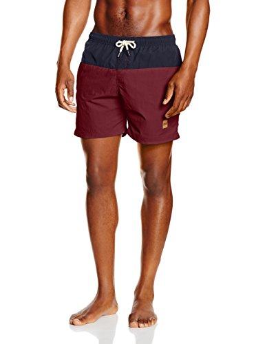 Urban Classics Herren Badehose Block Swim Shorts, NVY/Burgundy, XL