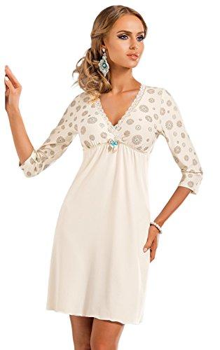 DONNA hochwertiges luftiges Viskose-Negligee Nachthemd Sleepshirt mit edlem Blumenprint, ecru, 3/4-Arm, Gr. 42