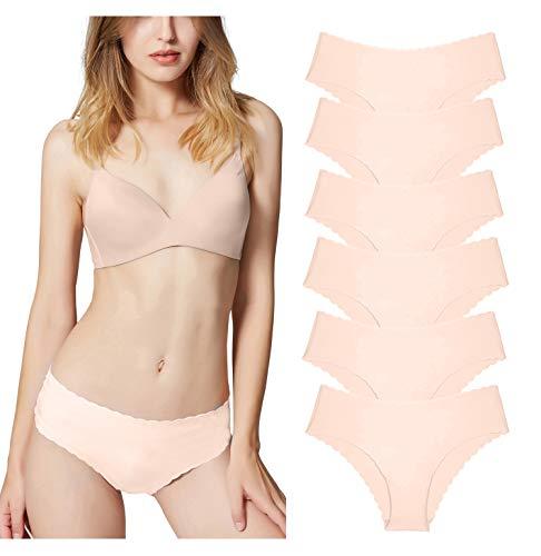 Misolin Damen Slips Nahtlos Unterwäsche Bikinis Taillenslips Seamless Unsichtbare Dehnbare Bequeme Panties Hipsters 6 Pack Beige 38-40 (XS)