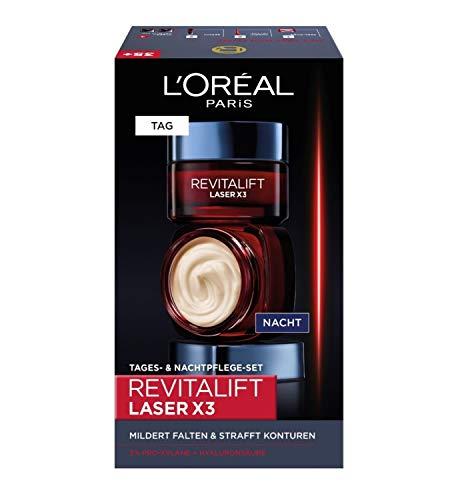 L'Oréal Paris Gesichtspflege Set, Revitalift Laser X3, Anti-Aging Tagespflege und Nachtpflege mit 3-fach Wirkung, Hyaluronsäure, 2 x 50 ml