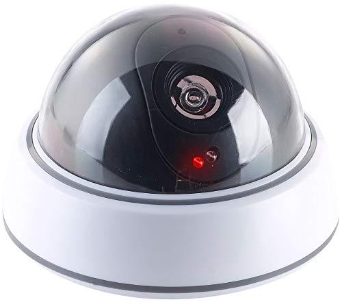 VisorTech Kamera Atrappe: Dome-Überwachungskamera-Attrappe mit durchsichtiger Kuppel und LED (Dummy Kamera)