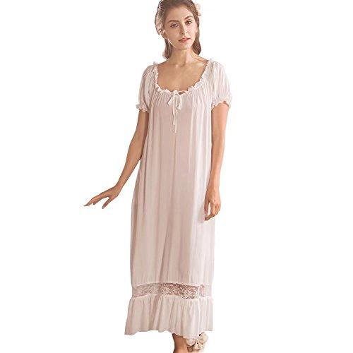 QLX Damen Nachthemd Baumwolle mit Spitze Dekoration Nachtkleid viktorianischer Stil Nachtwäsche, Weiß, L