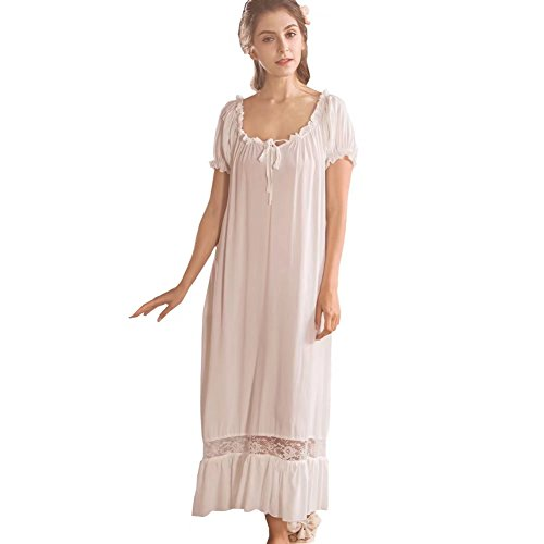 QLX Damen Nachthemd Baumwolle mit Spitze Dekoration Nachtkleid viktorianischer Stil Nachtwäsche, Weiß, S