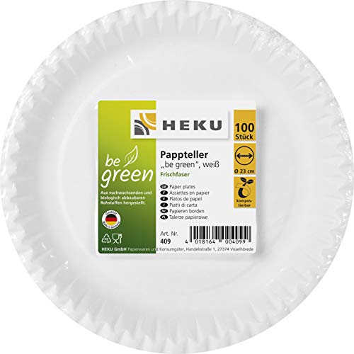 HEKU 30409: 100 Pappteller, weiß, rund, Ø 23cm, 100% Frischfaser ohne Beschichtung