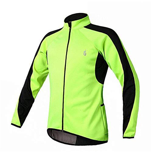 360 Reflective Mens Fahrradjacke Jacke Herbst und Winter Fleece Fahrrad fahren zu Warmreiten Langarmbluse Reflektierende Schutz Fluorescent Grün Halten Reflektierende und Hohe Sicht ( Size : XXXL )